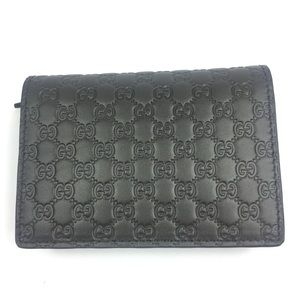 Gucci #544474 Micro-GG Leather Card Case Wallet